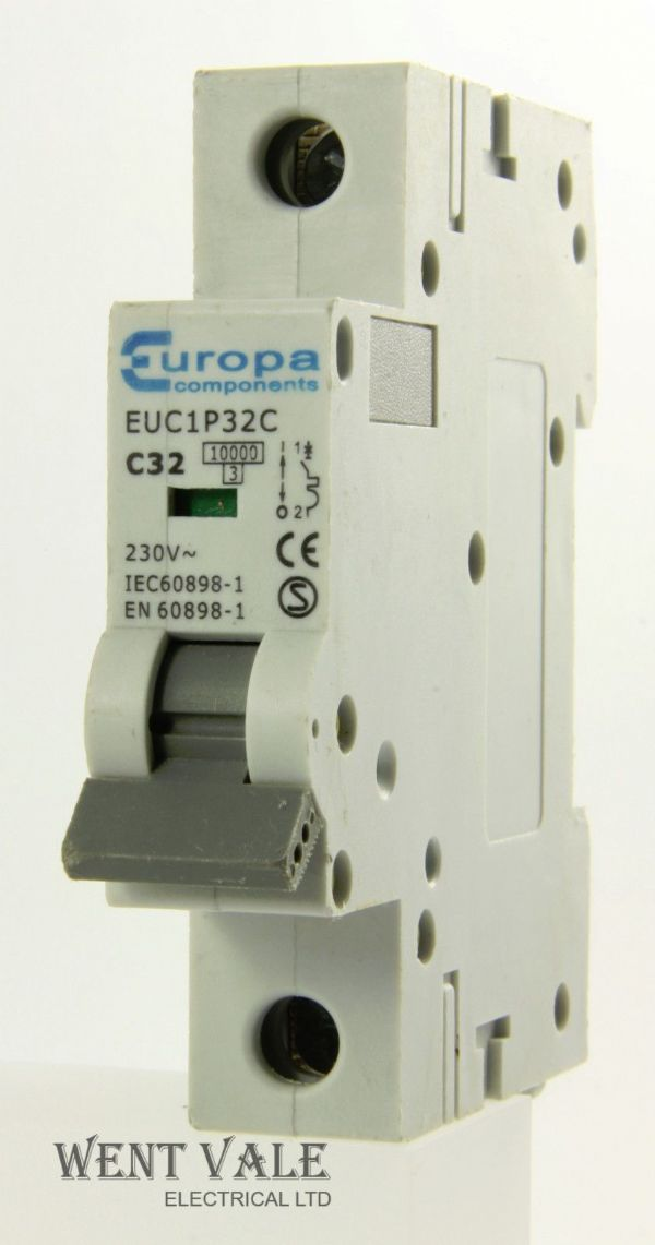 Europa Components - EUC1P32C - 32a Type C Single Pole MCB Used